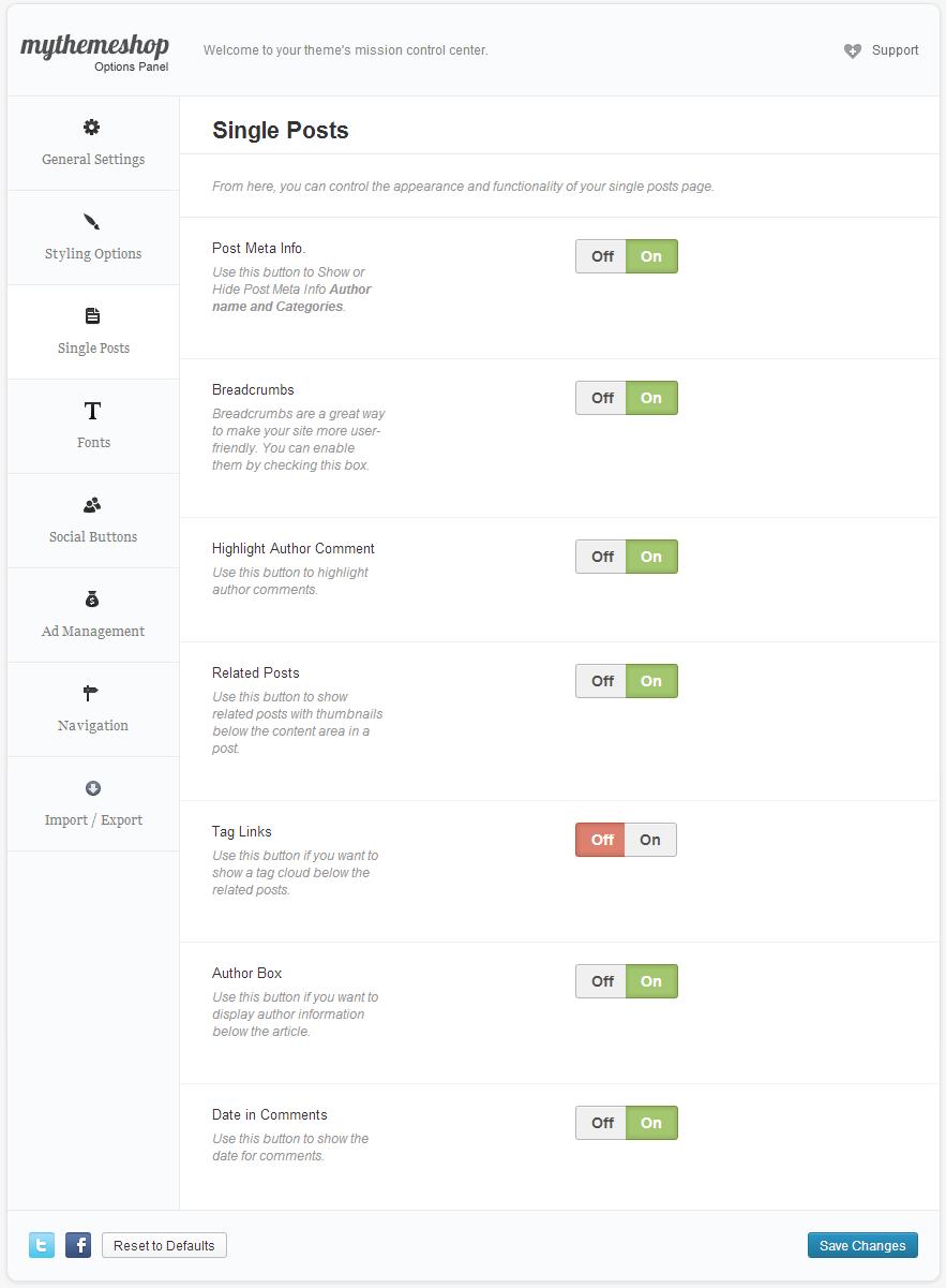 DayNight Single page Options